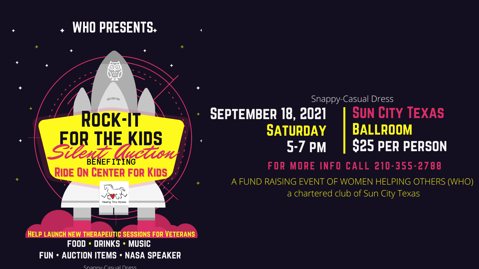 WHO Presents Rock-It For the Kids Silent Auction on September 18, 2021 at the Sun City Ballroom